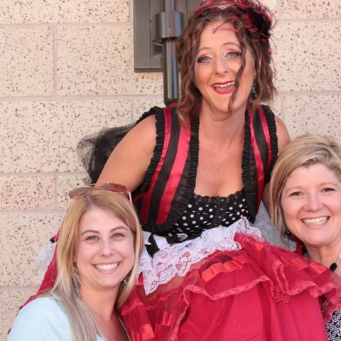 Simple Pleasures Events Team with Stilt-walker at RoseVilla Opening